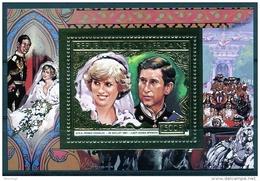 Central African Republic, 1981, Royal Wedding, Prince Charles, Princess Diana, MNH Sheet, Michel Block 142A - Zentralafrik. Republik