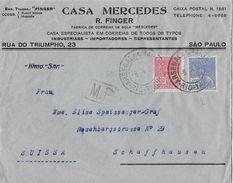 SAO PAULO 1932 - Letter Casa Mercedes R.Finger To Schaffhausen Suissa - Lettres & Documents