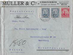 BAHIA 1912 - Letter Registrado Müller & Cia. To Schaffhausen Suissa, Stamp Consulat Suisse - Brésil