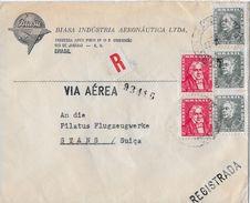 RIO DE JANEIRO1960 - Registrada-Letter Via Aérea To Pilatus Flugzeugwerke Stans - Brésil