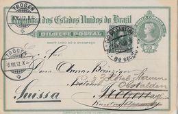 RIO DE JANEIRO 1912 - Bilhete Postal, Card To Trogen Suissa - Entiers Postaux
