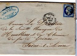 Lettre De Paris Etoile 23_St Antoine (03.11.1865) Pour Epinac - 1862 Napoléon III
