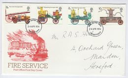 1974  Hereford GB FDC FIRE SERVICE Fire Engine Firemen Cover Stamps - FDC