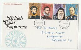 1972 Birmingham GB FDC POLAR EXPLORERS Cover Stamps Arctic - FDC