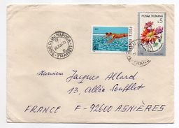 Roumanie-1986-Lettre De CLUJ-NAPOCA Pour ASNIERES-92(France) -timbres Natation+fleurs  -cachet CLUJ - 1948-.... Republics