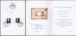 """Bund: Minister Card Ministerkarte, Mi-Nr. 1248-49 + 807 SST: """" Einladung Zur Gedenkstunde Im Deutschen Bundestag """" !   X - Cartas"""