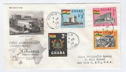 1958 Registered GHANA FDC Stamps FLAG HOTEL PARLIAMENT BIRD Cover Illus ELEPHANT To USA - Ghana (1957-...)