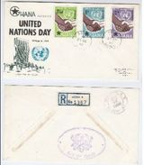 1958 Registered GHANA FDC Stamps UNITED NATIONS DAY Cover To USA Un - Ghana (1957-...)