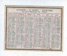 Calendrier Petit Format Année 1923 Publicité Librairie Papeterie Dubois Rouen - Calendars