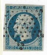 014. Timbre N°14 Type1 BLEU Sur VERT De 55 (belle Nuance) - Ob. Etoile Muette - 1853-1860 Napoléon III
