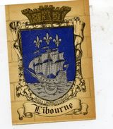 33 LIBOURNE - Blason, Armes De La Ville, Héraldisme - Superbe CPSM (à Plats Or Et Argent) N° 1319 B Barré-Dayez - Libourne