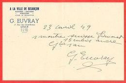 LILLE Bijouterie A La Ville De BESANCON * Garantie Achat Montre Suisse En 1949 - Petits Métiers
