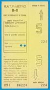 Titre De Transport (non Utilisé) R.A.T.P. Métro U-U - Carte Hebdomadaire De Travail - Abonnements Hebdomadaires & Mensuels