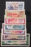 Full Set 7 Cambodia Cambodge Pol Pot Khmer Rouge Regime Banknotes 1975 - P#18-24 - Cambodia