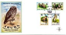 ARUBA. N°134-7 De 1994 Sur Enveloppe 1er Jour. WWF Hibou. - Hiboux & Chouettes