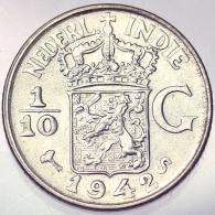 1/10 GULDEN 1942 S INDIE OLANDESI NETHERLANDS EAST INDIES KM 318 ARGENTO SILVER #3937 - [ 4] Colonie