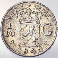 1/10 GULDEN 1945 P INDIE OLANDESI NETHERLANDS EAST INDIES KM 318 ARGENTO SILVER #3939 - [ 4] Colonie