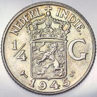 1/4 GULDEN 1945 S INDIE OLANDESI NETHERLANDS EAST INDIES KM 319 ARGENTO SILVER #4006 - [ 4] Colonie