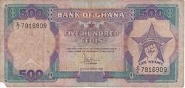 BILLETE DE GHANA DE 500 CEDIS DEL AÑO 1986 (BANKNOTE-BANK NOTE) - Ghana