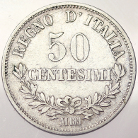 50 CENTESIMI 1866 MILANO Valore REGNO D'ITALIA KINGDOM OF ITALY Mont. 219 RARA RARE ARGENTO SILVER #3848 - 1861-1946 : Regno