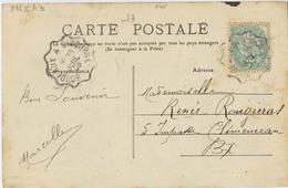 CACHET CONVOYEUR BORDEAUX A LIBOURNE 1905 GIRONDE - Postmark Collection (Covers)