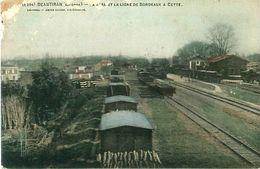 Cpa BEAUTIRAN 33 La Gare Et La Ligne De Bordeaux à Cette - Frankreich