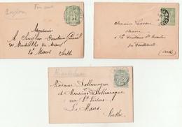 3 Lettres Entiers Postaux Sarthe Et Mayenne-Pontvallain La Milesse St Denis Gastines. - Postal Stamped Stationery