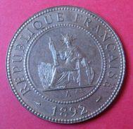 INDOCHINE -  1 Cent 1892  - Superbe Exemplaire , à Voir . - Kolonies