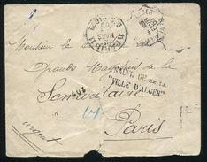SHIPWRECK MAIL 1909 VILLE D'ALGER MARSEILLES FRANCE ALGERIA PAQUEBOT - Algeria (1962-...)