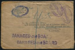 GB LONDON SOUTH AFRICA REGISTERED DAMAGED ON BOARD WWII 1943 RARE CACHETS - Postmark Collection