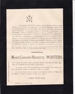 RHODE-SAINTE-AGATHE Marie-Caroline WOUTERS 1856-1894 Famille MALOU De TROOSTEMBERGH De BOUCHOUT - Décès