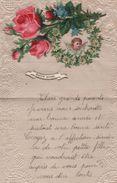 Lettre De Voeux 2 Volets/Canivet & Gaufrage/Petite Fille à Grands Parents/Chromos Roses & Angelot/Vers1880-1900   CHRO44 - Autres