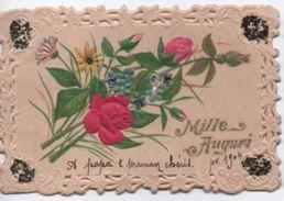 Petite Carte De Voeux  Canivet Gaufrage/Mille Auguri  / A Papa & Maman Chéris / Fleurs /1904    CHRO46 - Autres