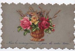 Petite Carte Dentelée /Avec Chromo Poisson Dans Bouquet/Nous Le Mangerons Le Jour De Notre Noce /Vers 1900    CHRO47 - Autres