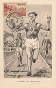 D31875 CARTE MAXIMUM CARD FD 1937 FRANCE - LA COURSE ATHLETICS RUNNING FINISH CP ORIGINAL - Athletics
