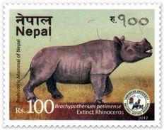 PREHISTORIC RHINOCEROS Rs.100 ADHESIVE POSTAGE STAMP NEPAL 2017 MINT/MNH - Neushoorn