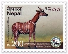 PREHISTORIC GIRAFFE Rs.200 ADHESIVE POSTAGE STAMP NEPAL 2017 MINT/MNH - Giraffen