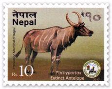 PREHISTORIC ANTELOPE Rs.10 ADHESIVE POSTAGE STAMP NEPAL 2017 MINT/MNH - Giraffen