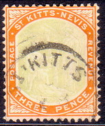 ST KITTS_NEVIS 1906 SG #18a 3d Used Wmk Mult.Crown CA Chalk-surfaced Paper - St.Christopher-Nevis-Anguilla (...-1980)