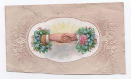 Petite Carte Gaufrée /Avec Mains Serrées  Couronnes De Myosotis / Noce ?  /Vers 1900    CHRO48 - Autres