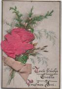"""Petite Carte Chromo, Fleur & Ruban Tissus/ """"Toute Fraîche Cueillie; Pour Mon Ami """" /Vers 1900    CHRO49 - Autres"""