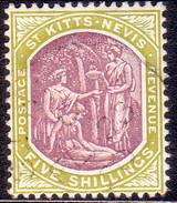 ST KITTS_NEVIS 1918 SG #21 5sh Used Wmk Mult.Crown CA CV £120 - St.Christopher-Nevis-Anguilla (...-1980)