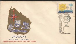 A) 1972 URUGUAY, YEAR OF TOURISM OF THE AMERICAS, MAP, CONTINET, SUN, PASAPORT FOR THE PEACE, ONU, FDC. - Uruguay