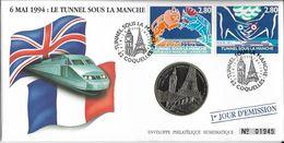 Grande Env Fdc Numismatique, 3/5/94 Coquelles,N°2880-1, Tunnel Sous La Manche, Tour Eiffel, Train, Big Ben - FDC