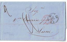 """1860 - CAD ROUGE MARQUE D'ENTRÉE """" SARDAIGNE 2 CULOZ """" Sur LETTRE LAC MILANO ITALIE Pour LYON LIONE TAXE MANUSCRITE - Marcophilie (Lettres)"""