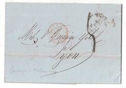 """1853 - CAD ROUGE MARQUE D'ENTRÉE """" SARD. 3 Pt PONT DE BEAUVOISIN """" Sur LETTRE LAC TORINO ITALIE Pour LYON TAXE SARDAIGNE - Postmark Collection (Covers)"""