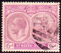 ST KITTS_NEVIS 1920 SG #30 6d Used Wmk Mult.Crown CA CV £11 - St.Christopher-Nevis-Anguilla (...-1980)