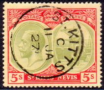 ST KITTS_NEVIS 1920 SG #34 5sh Used Wmk Mult.Crown CA CV £42 - St.Christopher-Nevis-Anguilla (...-1980)