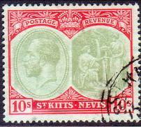 ST KITTS_NEVIS 1920 SG #35 10sh Used Wmk Mult.Crown CA CV £48 - St.Christopher-Nevis-Anguilla (...-1980)