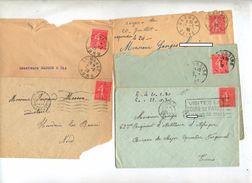 Lot 24 Lettre Cachet Et Flamme Sur 50 C Semeuse - Postmark Collection (Covers)